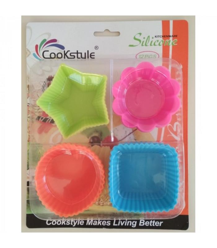 Набор силиконовых форм для выпечки кексов Ассорти (12 шт)