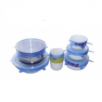 Универсальные силиконовые крышки для посуды 6 штук (синии)