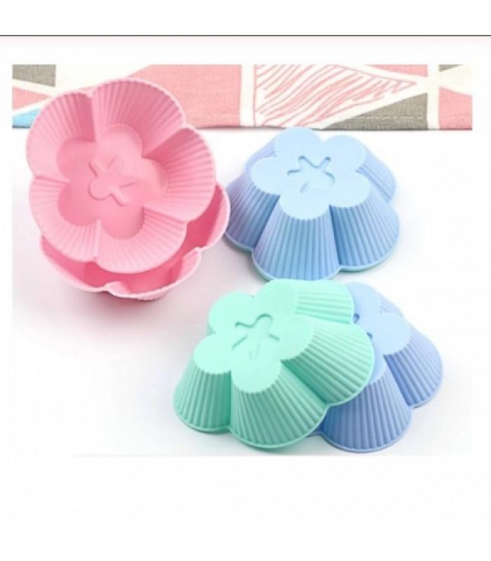 Набор силиконовых форм для выпечки кексов Цветы (6 шт)