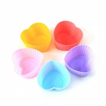 Набор силиконов форм для выпечки кексов Сердце (6 шт)