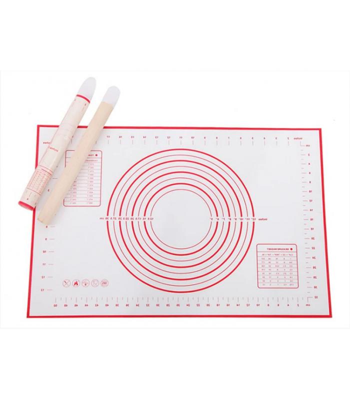 Армированный силиконовый коврик 40х50 см с разметкой