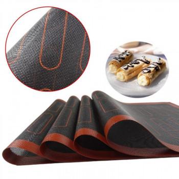 Перфорированный силиконовый коврик для выпекания 40х60 см с разметкой для эклера