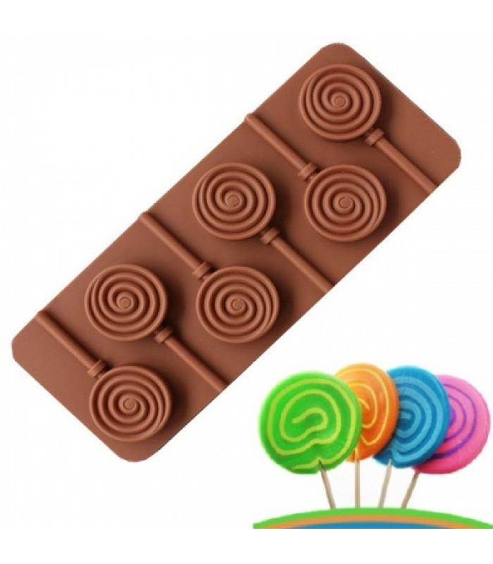 Силиконовая форма для конфет на палочке Леденец