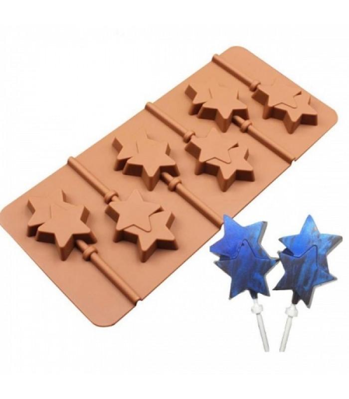 Силиконовая форма для конфет на палочке Звезда