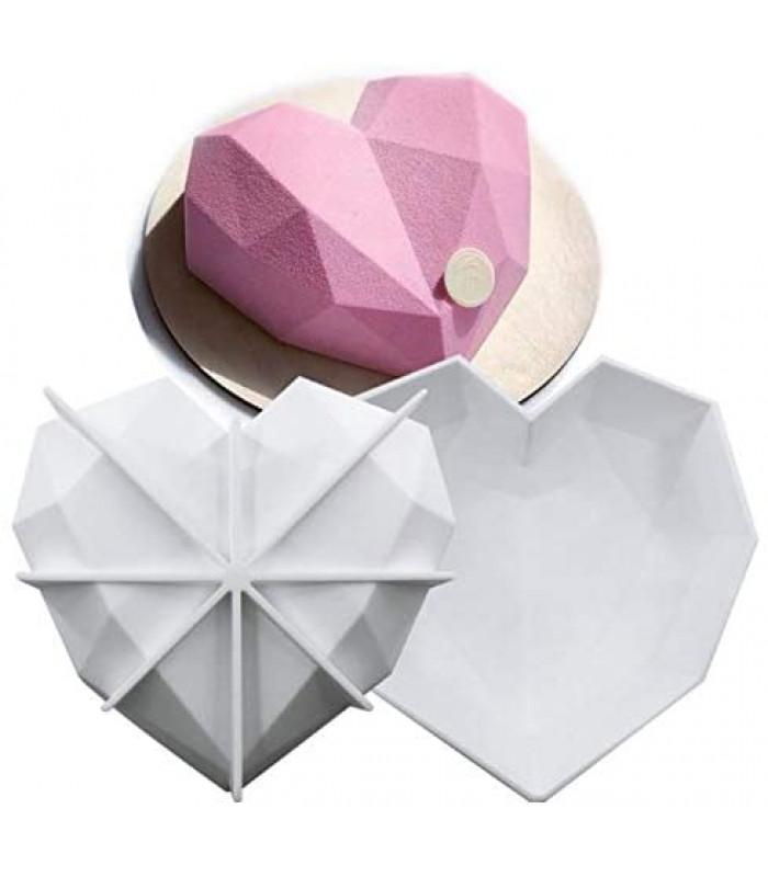 Силиконовая форма для евродесертов Сердце оригами (18,5х17,5см)