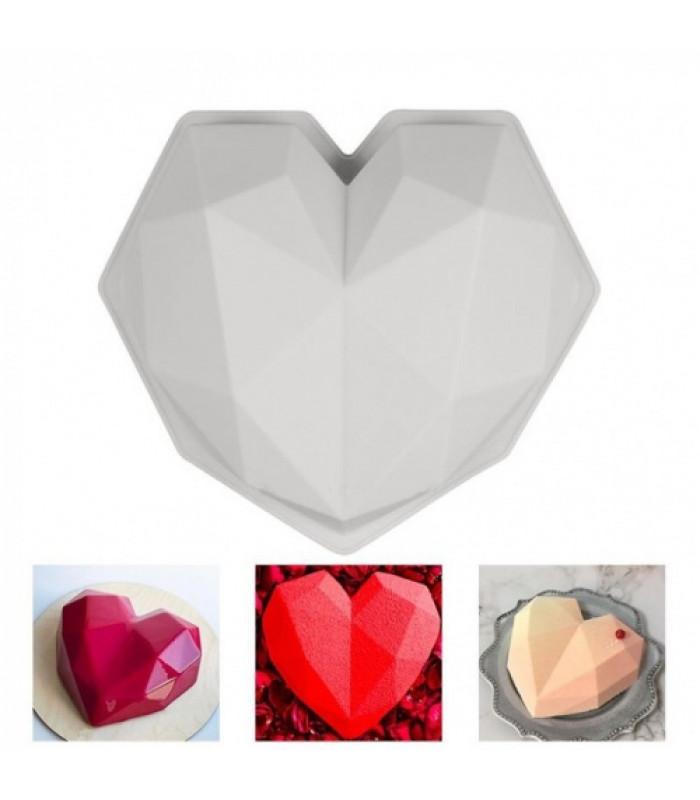 Силиконовая форма для евродесертов Сердце оригами (20х20см)