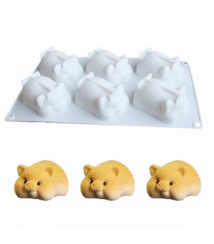 Силиконовая форма для евродесертов Свинки из 6 шт