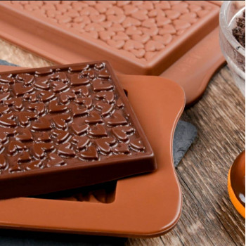 Силиконовая форма плитка шоколада Сердечки