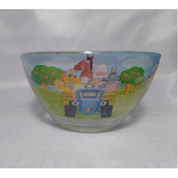 """Детский набор посуды  (стекло) """"Синий трактор"""" НОВИНКА!!!"""