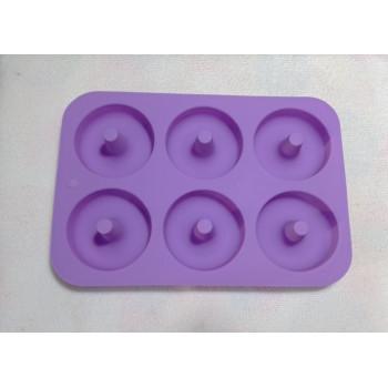 Силиконовая форма для выпечки Пончиков и Донатсов на 6 ячеек с высокой втулкой