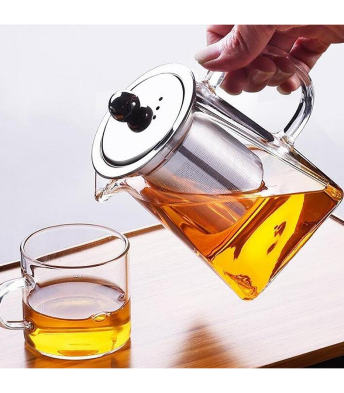 Чайник заварочный стекло 900 мл Прямоугольный