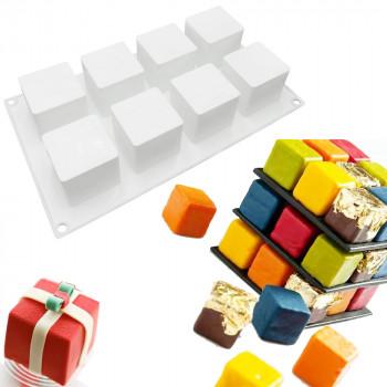 Силиконовая форма для евродесертов  Куб из 8 шт
