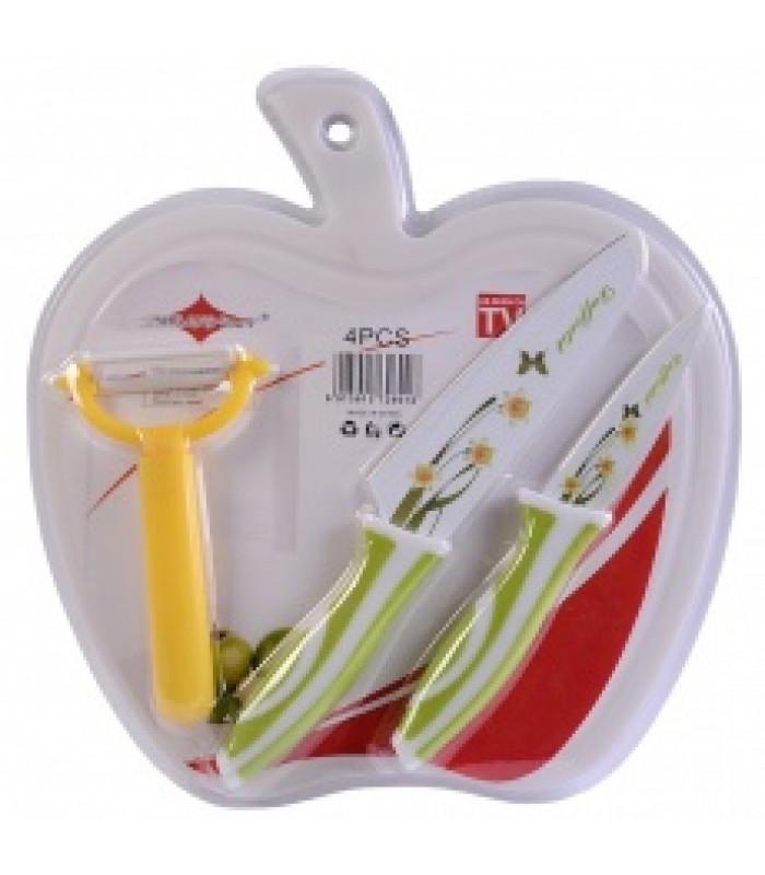 Набор ножей антибактериальный (ножи 2 шт + овощечистка + доска)