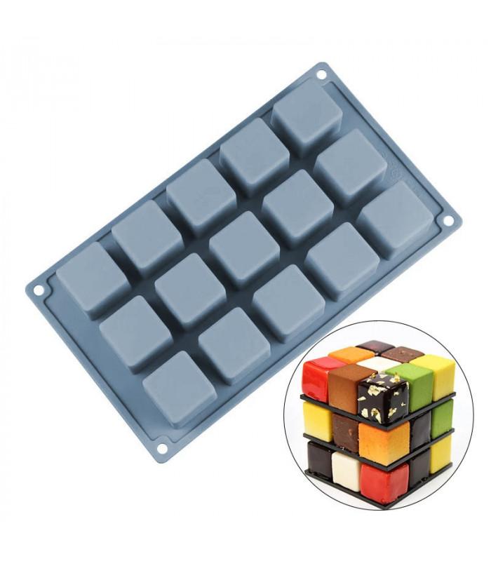 Силиконовая форма для евродесертов  Куб из 15 шт