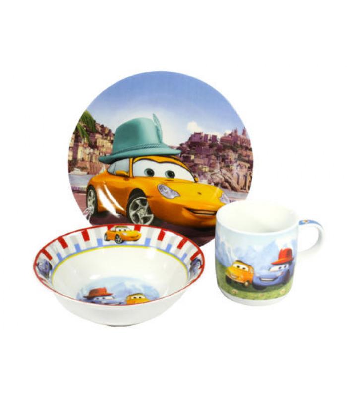 """Детский набор посуды """"Тачки желтая"""" арт 343 (фарфор)"""