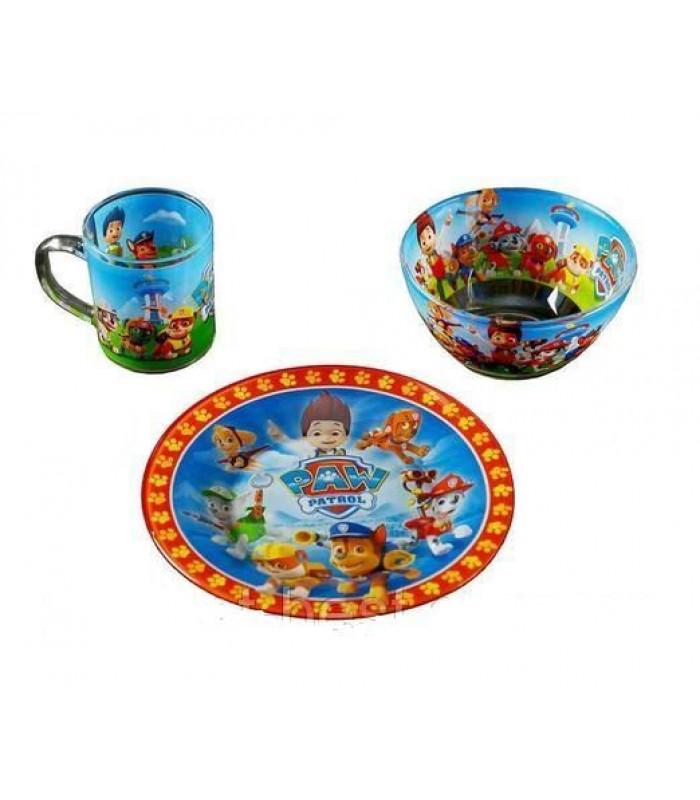 """Детский набор посуды (стекло) """"Щенячий патруль"""" НОВИНКА!!!"""