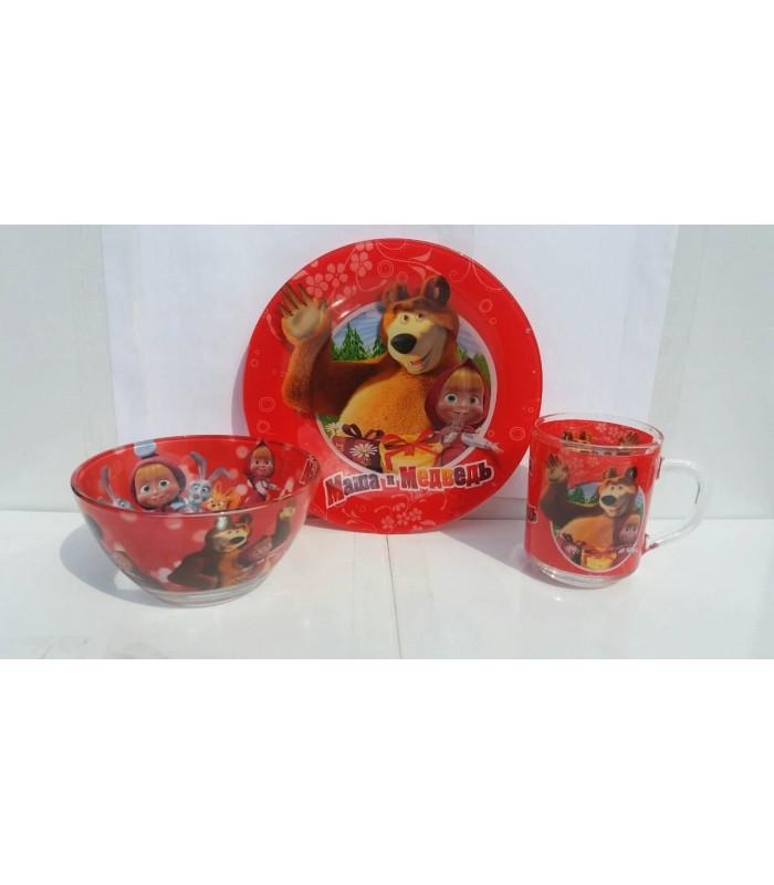 """Детский набор посуды (стекло) """"Маша и Медведь"""" НОВИНКА!!!"""