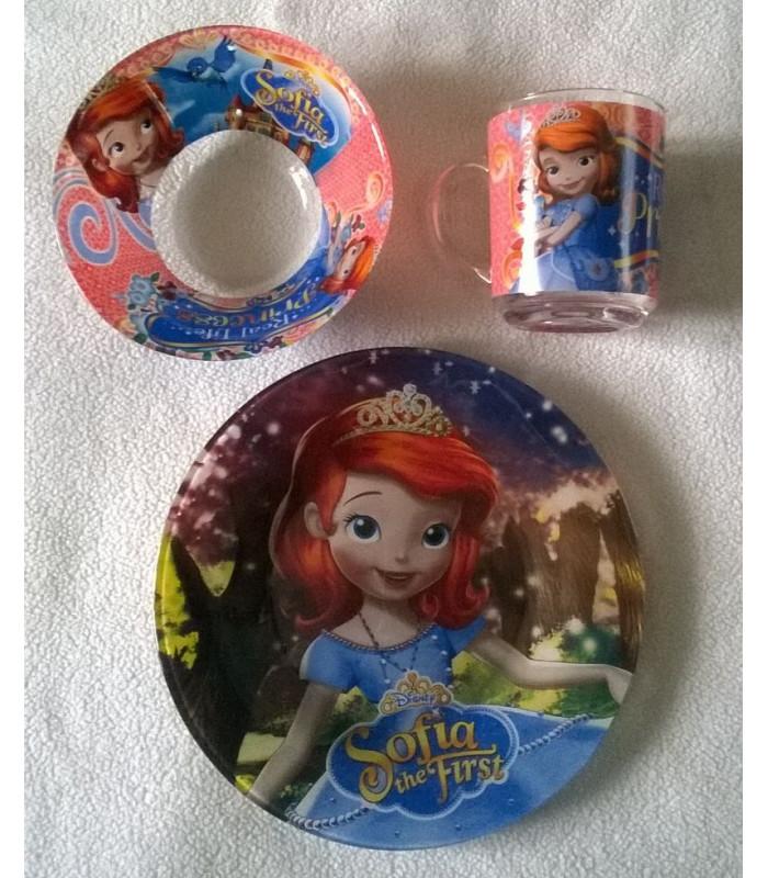 """Детский набор посуды (стекло) """"Принцесса София"""""""