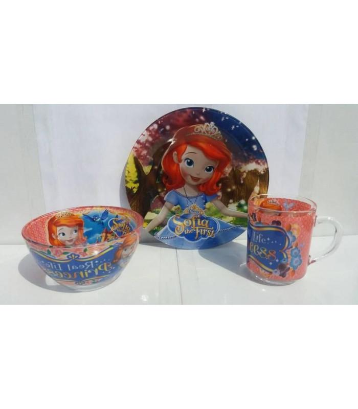 """Детский набор посуды (стекло) """"Принцесса София"""" НОВИНКА!!!"""