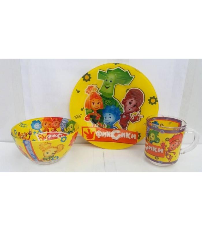 """Детский набор посуды (стекло) """"Фиксики"""" НОВИНКА!!!"""