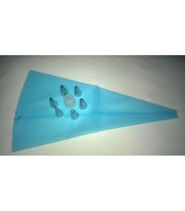 Кондитерский набор силиконовый мешок (40 см.) с насадками