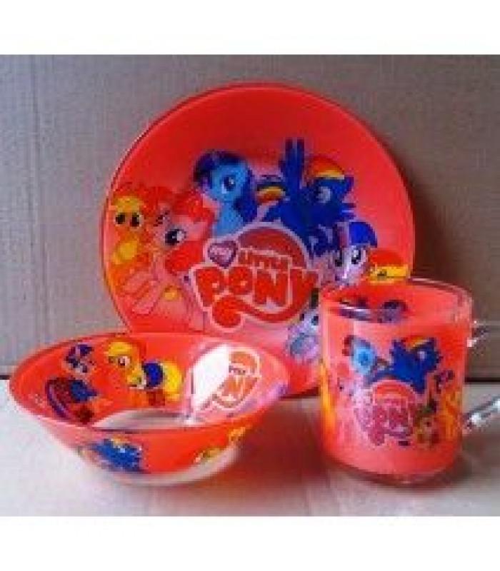 """Детский набор посуды  (стекло) """"Литл Пони"""""""