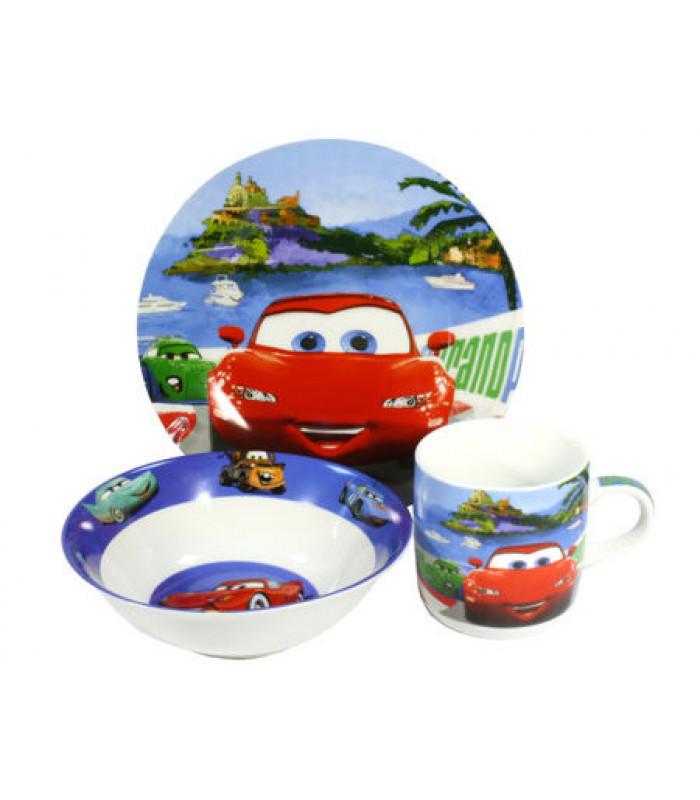 """Детский набор посуды """"Тачки красная"""" арт 363 (фарфор)"""